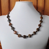 Petrified Wood, Bronzite & Sterling Silver Handmade Necklace, Brown Necklace, Women's Necklace, Gift for Her