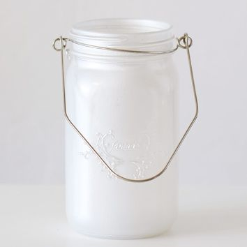 "Frosted Pearl White Glass Mason Jar with Hanger - 6.5"" Tall x 3.5"" Wide"
