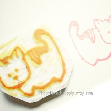 Eraser stamp, Hear me Meow, cute Cat, keshigomu, hand carved, rubber stamp, id1340569, unmounted, kawaii hanko, scrapbooking, neko