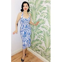 Sarong High Tea Pinup Halter Dress