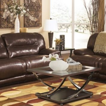 2 pc Exhilaration collection chocolate leather match upholstered power motion sofa and love seat set with recliners on the ends