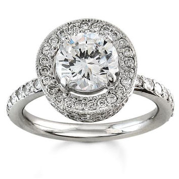Ladies 18kt pave double halo engagement ring with 1 ctw G-VS2 diamonds and 1 ct natural round white sapphire center