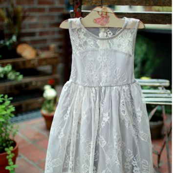 "The ""Genevieve"" Girls Gray Lace Dress"