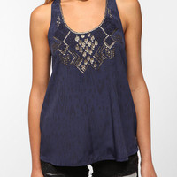 Ecote Sequined Neck Racerback Tank Top