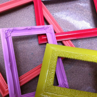 Colorful Shabby Chic Frames Distressed Vintage Frames Upcycled Painted Beach Decor