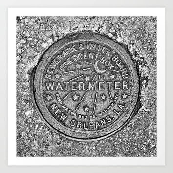 New Orleans Water Meter Print, NOLA, Louisiana, moon, shooting stars, crescent city, dirty south, concrete, square art print, black white