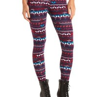 Cotton Geo-Tribal Printed Leggings by Charlotte Russe - Purple Combo