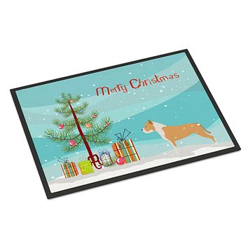 Staffordshire Bull Terrier Merry Christmas Tree Indoor or Outdoor Mat 24x36 BB2972JMAT
