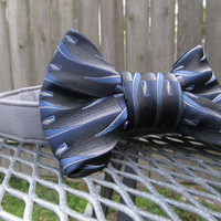 Dog collar and Bow Tie - READY To SHIP  Blue and Grey Bowtie and Grey Collar - wedding dog collar, bowtie dog collar