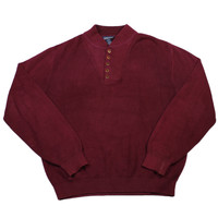 Vintage Lands End 5-Button Maroon Sweater Made in USA Mens Size Large