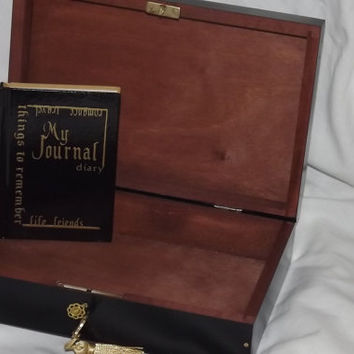SMALL Journal Diary storage Box. Lockable Wooden hide away diary with Free pocket diary. Black and Gold. Can be personalised