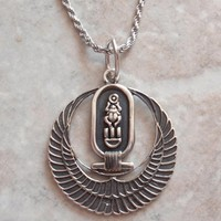 Egyptian Wings Necklace Scarab Cartouche 18 Inch Rope Chain Vintage AT0188
