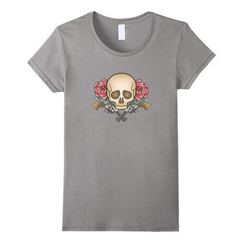 Skull Red Roses And Guns - Graphic T-shirt