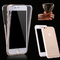 Case for iPhone 7 7 Plus 6 6S Plu 5 5S SE (Front+Back Cover Gel Series), Anti-knock Shockproof TPU 360 degree Clear Crystal Soft