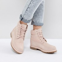Timberland 6 Inch Premium Rose Suede Flat Boots at asos.com