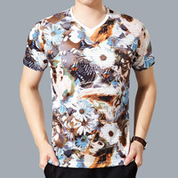 Summer Stylish Print Fashion V-neck Men Short Sleeve T-shirts [6544595779]