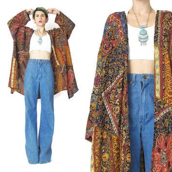Vintage 90s Boho Hippie Robe Long Sleeve Blouse Layering Top Abstract Geometric Print Kimono Floral Paisley Womens Draped Duster Jacket (XL)
