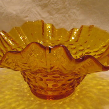 Vintage Fenton Hobnail Glass, Glassware,Bowl, Dish, Amber Color, Scalloped Edges, Mid-Century
