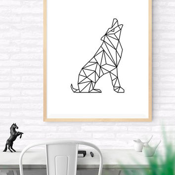 Geometric Wolf, Origami Art, Printable wall art, Geometrical Animal print, Wolf Art Print, Modern Wolf Art, Nursery kids Wall Art, Woodlands