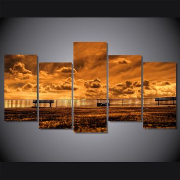 Outdoor Sidewalk and railing picture wall art canvas - Gold Tones