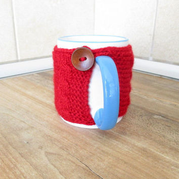 Knit coffee cup cozy, Knit tea cup cozy, Knit cup sweater, Coffee mug cozy, Mug warmer, Coffee mug sweater, Coffee mug warmer, Cup sleeve