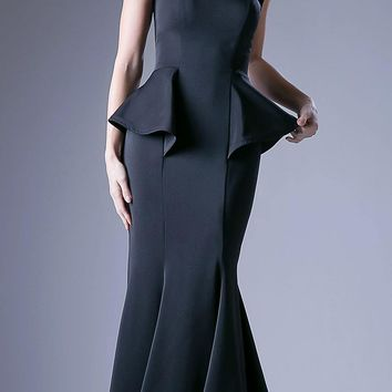 Peplum Black Strapless Mermaid Floor Length Prom Gown