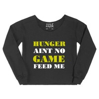 Hunger Aint No Game Feed Me-Female Black Hoodie