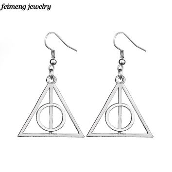 HOT!! New Style Deathly Hallows Earrings Fans Steam punk Jewelry Vintage Retro Earring Free shipping