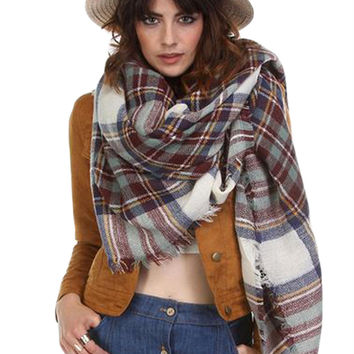 Plaid Oversized Blanket Scarf - White