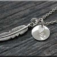 Silver Feather Charm Necklace, Initial Charm Necklace, Personalized, Native American Feather Charm, Feather Pendant, Feather Jewelry