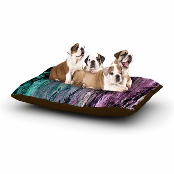 "Ebi Emporium ""RAINBOW BARK 3"" Purple Blue Abstract Nature Painting Mixed Media Dog Bed"