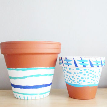 Turquoise, White & Blue Decor ~Pots and Planters, SET OF 2, Succulent Planter, Housewarming Gift Set, Boho decor, Indoor planters, Dorm Room