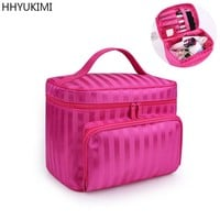 HHYUKIMI Large-capacity Polyester Hand-held Cosmetic Bag Ladies Travel Hand bag Makeup Artist Beautician Cosmetics Organizer