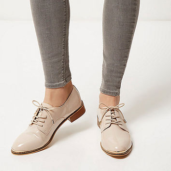 Nude pink patent lace up brogues - shoes / boots - sale - women
