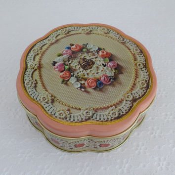 Vintage Valentine Tin, Valentines Day 1981, Avon Sweet Sentiments, Round Embossed Tin, Storage Container, Lace and Pearls, Ribbon Rosettes