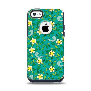 The Shades of Green Vector Flower-Bed Apple iPhone 5c Otterbox Commuter Case Skin Set