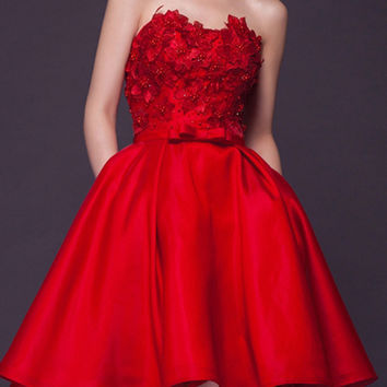 Red Floral Beaded Strapless Mini Dress