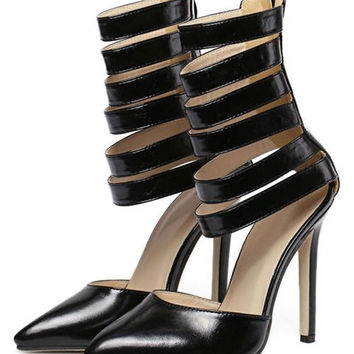 Black Zip Back Strappy Detail Pointed Gladiator High Heels