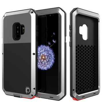Galaxy S9 Plus Metal Case, Heavy Duty Military Grade Rugged Armor Cover [Silver]