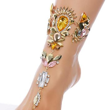 Gold Rhinestone Foot Jewels Rave Wear
