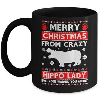 DCKIJ3 Merry Christmas From Crazy Hippo Lady Sweater Mug