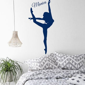 Ballerina Wall Decals Girl Personalized Name Dancer Sticker Sport Gym Home Decor Vinyl Decal Sticker Kids Girl Nursery Baby Room Decor kk755
