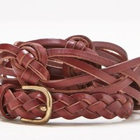 AEO Women's Knotted Braid Leather Belt (Brown)