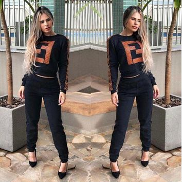 FENDI Women Casual Long Sleeve Top Pants Set Two-Piece