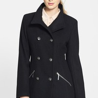 kensie Wool Blend Military Peacoat | Nordstrom