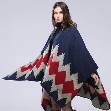 2016 New Women Poncho Spinning Cashmere Wool Scarf Personalized Poncho Cape Block Check Blanket Poncho