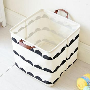 Upscale Home decoration Bathroom Dirty Clothes Laundry Storage Buckets box Bag Kids Toy Cotton Linen Foldable  Storage Basket