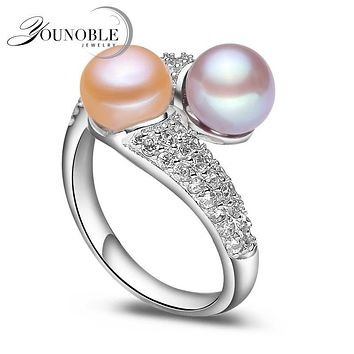 YouNoble 3 color ADJUSTABLE Real Freshwater Pearl Ring 7-8mm Big Size Jewellery Fashion Finger Ring Hot for Women White Gift