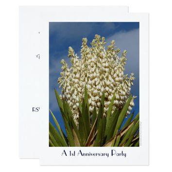 1st Anniversary Party Invitation Flowering Yucca