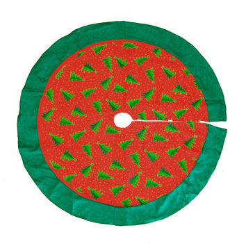 Felt Christmas Tree Skirt with Pine Trees, Red/Green, 48-Inch